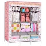 批发布衣柜厂家直供带流苏简易组合布衣柜防层双人钢管布衣柜子