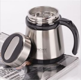 骁华新款高档办公室304不锈钢保温杯男士商务老板杯泡茶杯带手柄