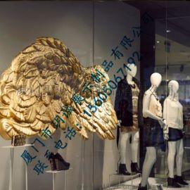 厦门玥诚玻璃钢创意橱窗道具 金色超大翅膀玻璃钢道具