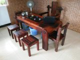 小型船木茶桌茶臺茶幾客廳陽臺實木功夫小茶藝桌椅組合