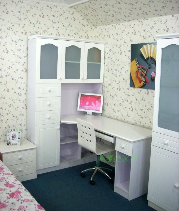 韩式转角书桌田园学习桌 书柜书架组合图片
