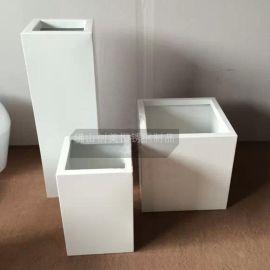 定做 四方形不锈钢白色烤漆盆景花盆花瓶 耐氧化 耐腐蚀