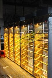 乱纹土豪金不锈钢展示红酒架红酒柜|不锈钢恒温设备厂家