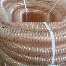 pu鍍銅鋼絲螺旋伸縮管透明鋼絲吸塵管鋼絲增強輸送管