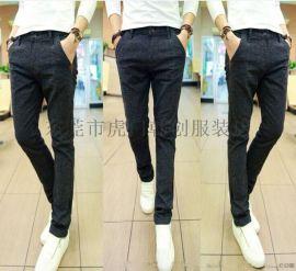 夏季新款小腳褲男裝藍色鉛筆牛仔褲韓版修身黑色潮男褲