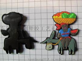 PVC毛驢冰箱貼  滴膠彩色圖案磁膠冰箱貼