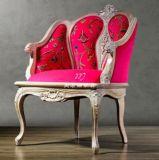 美若婳家具s27美式实木雕花沙发法式复古做旧布艺新古典单人休闲办公洽谈老虎椅