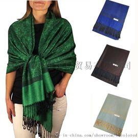 披彩A01大尺寸提花羊绒真丝围巾披肩