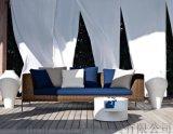 北歐戶外藤編沙發室內休閒雙人沙發酒店會所休閒家具