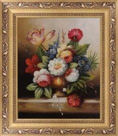 大芬油画村批发古典花卉油画9元起手绘有图