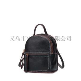 工廠定做外貿高檔PU荔枝紋雙肩包帆布背包學生書包批發直銷