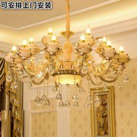 简约锌合金玉石水晶吊灯奢华客厅灯欧式现代卧室led大厅大气灯具