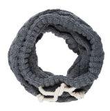 外贸欧美中性腈纶夹花灰针织抽绳围脖