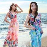 品牌女裝夏季V領性感沙灘裙 波西米亞長裙 大碼裙子修身連衣裙女