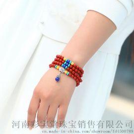 郑州五皇一后珠宝供应满肉精品南红玛瑙多圈手链