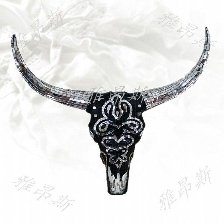 牦牛头骨壁饰摆件标本工艺礼品羊头骨纹身店招财牛头动物装饰