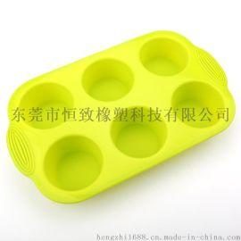 创意硅胶双耳6圆孔蛋糕模具马芬杯蛋糕模 硅胶布丁模