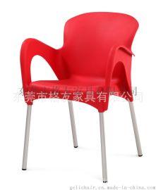 厂家批发户外沙滩塑料扶手椅 堆叠塑料椅