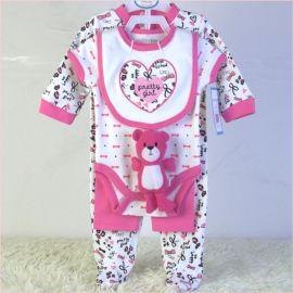 外貿童裝嬰童套裝純棉寶寶五件套公仔口水巾三角哈衣長褲睡衣