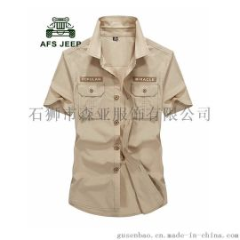 秋季新款男士短袖襯衫 吉普風格男式短袖 制服男裝 天河男裝批發