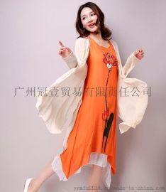 蓮花印花背心裙+純色披肩外套 民族風兩件套連衣裙