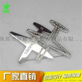 定制金属电镀不入色徽章飞机模型镶钻胸针镂空胸章礼品