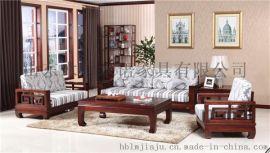 中式環保實木家具木言木語禪意實木沙發