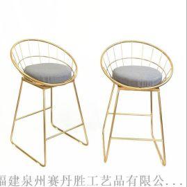 北欧酒吧椅子金色铁艺吧台椅休闲咖啡厅餐椅
