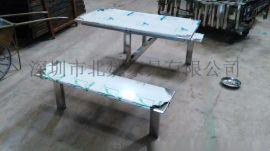 餐廳【連體餐桌椅】圖片、食堂4人餐桌椅報價、食堂四人不鏽鋼餐桌椅