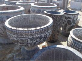 厂家供应 石雕花盆  各种石材雕刻石雕花盆 景区石雕摆件
