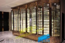 深圳不锈钢酒窖 五星级酒店玫瑰金镜面不锈钢酒柜