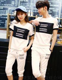韓版字母圖案 男女可穿情侶裝 休閒運動套裝【免費加盟一件代發】