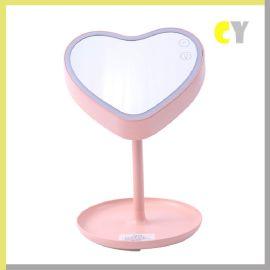亞馬遜新款心形高端禮品化妝鏡臺燈 LED臺燈臥室居家韓式小夜燈
