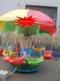 12座电动旋转秋千鱼电瓶椰子树儿童旋转飞鱼彩灯吊篮