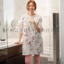 韓版夏季新款 時尚清新花朵印花 田園風五分袖休閒連衣裙