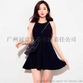 夏季新款 性感围脖无袖 修腰圆摆纯色连衣裙