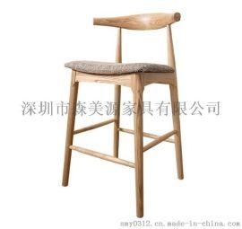 实木吧台椅酒吧椅北欧靠背吧椅简约吧凳高脚凳