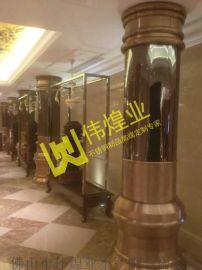 高档不锈钢包柱罗马柱|玫瑰金不锈钢柱子装饰