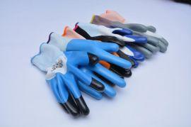 厂家生产劳保手套耐磨浸胶挂胶防护手套丁晴透气防滑耐酸碱丁腈手套