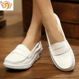 天使美足1501-1新款真皮白色护士鞋抗震弹力气垫女单鞋防滑工作鞋