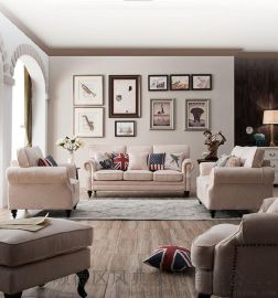 美式复古休闲咖啡厅皮艺双人沙发小户型酒店油腊皮沙发 sofa
