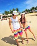 海上风情系列沙滩裤,彩虹,迷人之夏情侣款沙滩裤