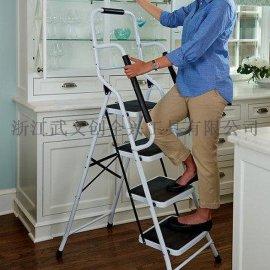 兩側帶套有海綿管的安全扶手鋼管梯子234步高扶手人字鐵梯子 出口英美