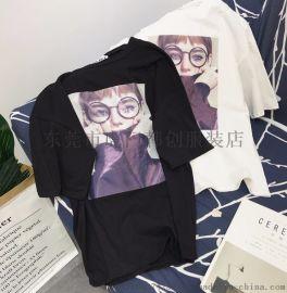 广州便宜T恤库存尾货女装短袖纯棉t恤库存服装几块钱