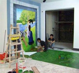 南京墙绘之在湖边看风景 3D立体画效果