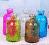 復古彩色浮雕玻璃瓶花瓶家居擺件插花瓶櫥窗裝飾客廳水培玻璃花器
