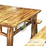 火烧木实木八仙桌,火锅店餐饮餐桌椅组合,品艺家具