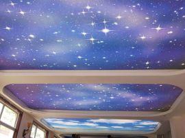 江苏星空彩绘喷画1南京幼儿园早教中心吊顶彩绘