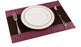 咖啡底紫色花邊硅膠餐墊