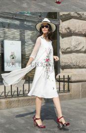 卡梵朵新款时尚简洁优美典雅轻纱圆领五分袖绣花连衣裙